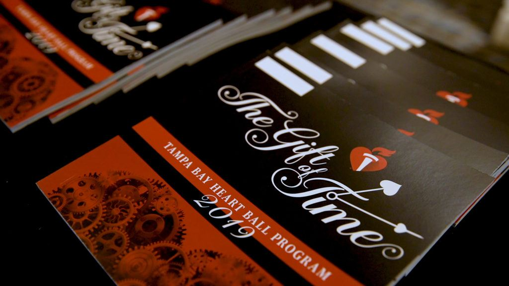 The Gift of Time program for the 2019 Tampa American Heart Ball. Two Stories Media provided event videography for the 61st Annual Heart Ball.