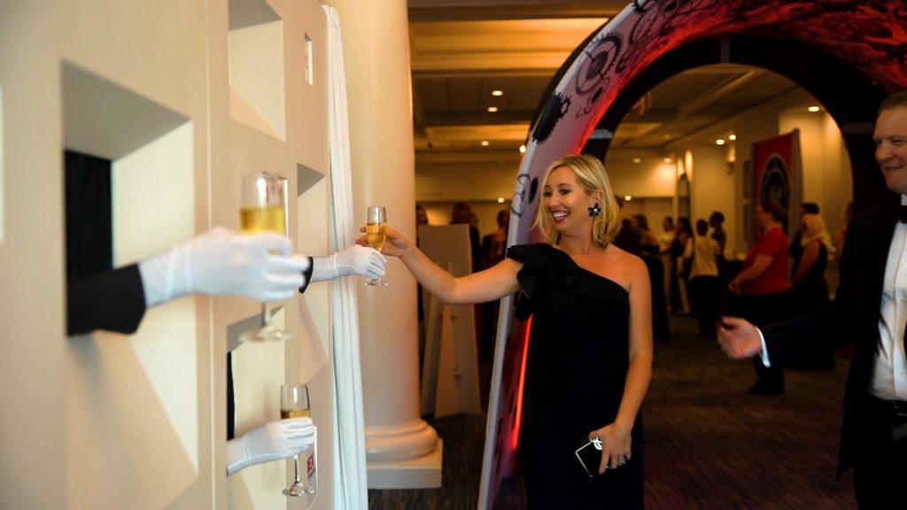 The entrance to the 2019 Tampa American Heart Ball featured a champagne wall that greeted guests. Two Stories Media provided event videography for the 61st Annual Heart Ball.
