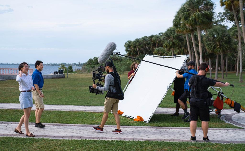 Behind-the-scenes of the video production for the New College of Florida tour.