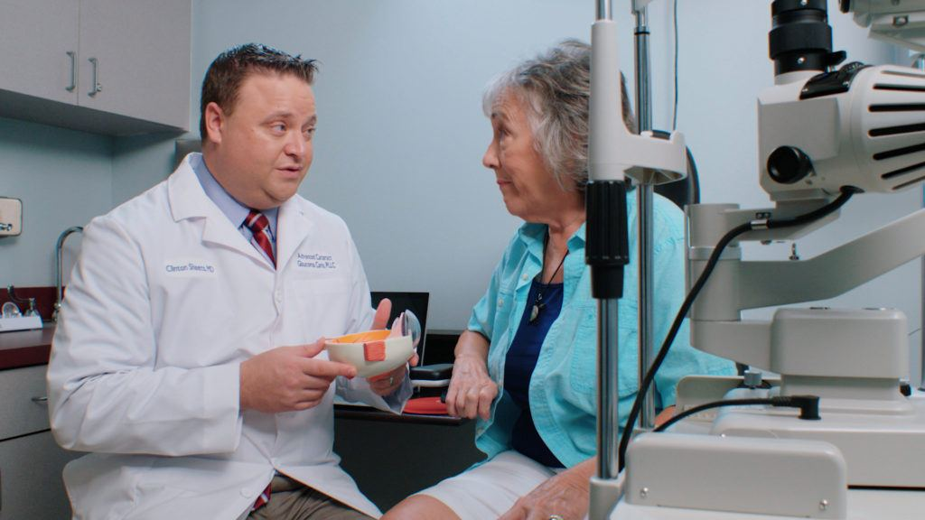 Dr. Sheets of Advanced Cataract and Glaucoma Care featured in medical commercial videography for his practice.