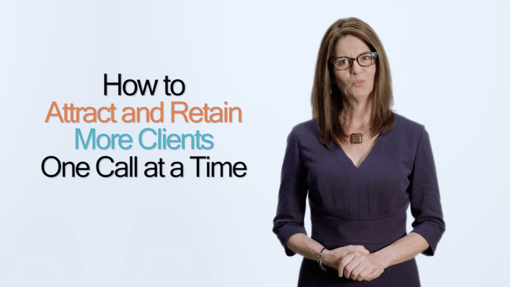 "Amanda Donnelly DVM stands in front of a plain background with text that reads ""How to Attract and Retain More Clients One Call at a Time."""