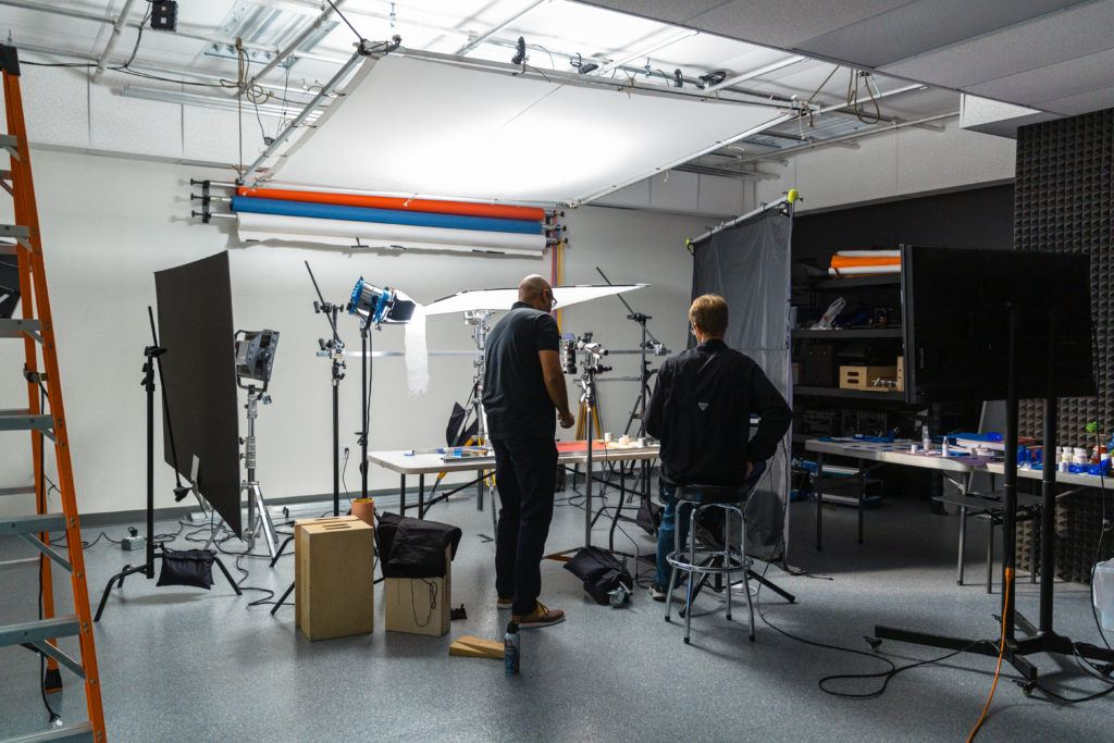 Behind-the-scenes of Two Stories Media's product photography studio in Clearwater, Florida when set up for Strut photoshoot.