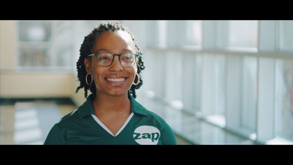 Still of a student in the USF Zimmerman Advertising Program.